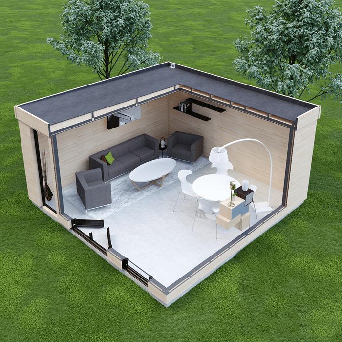 Casa prefabricada de jardin con sofás y mesa de comedor