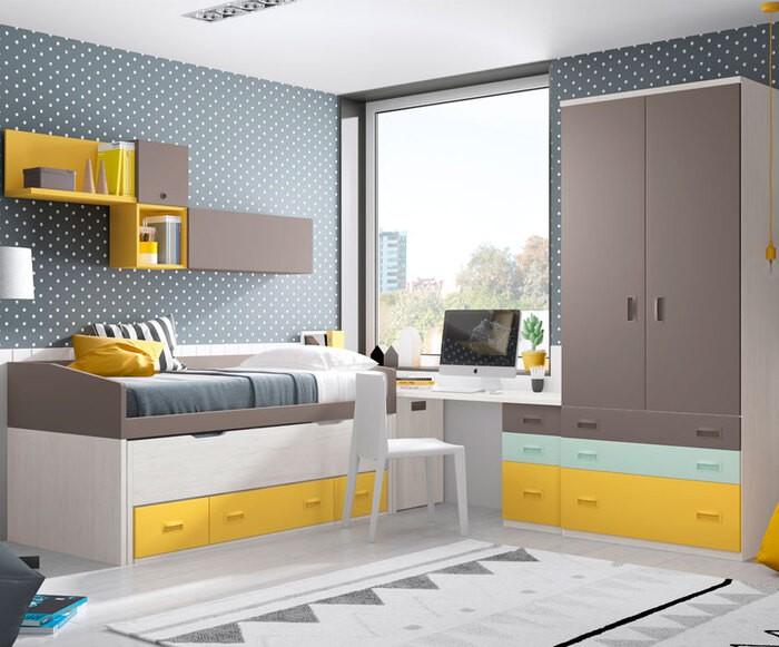 habitación juvenil colores neutros combinados con el amarillo