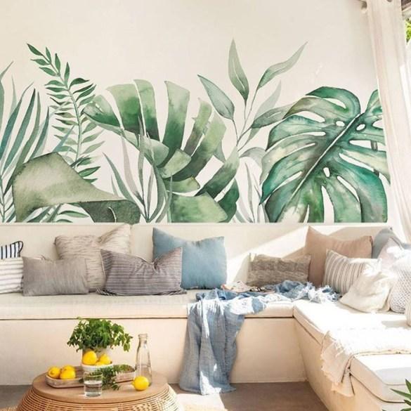 salon tropical pared pintada