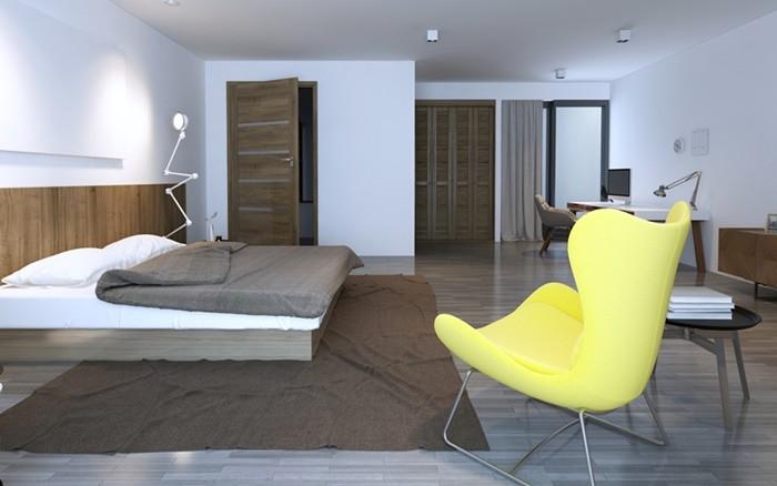 habitacion madera silla brillante