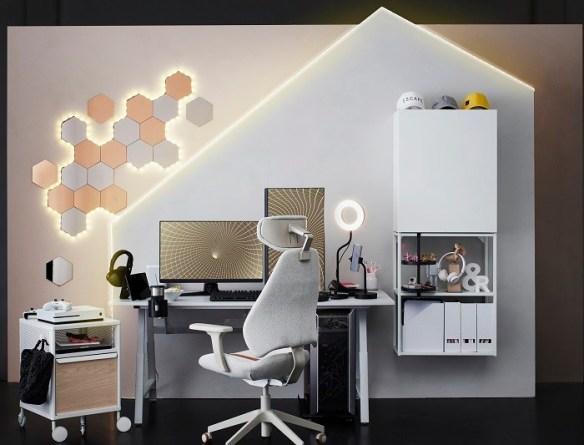 habitación con zona gaming de Ikea