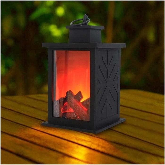chimenea exterior en forma de linterna para mesa LED