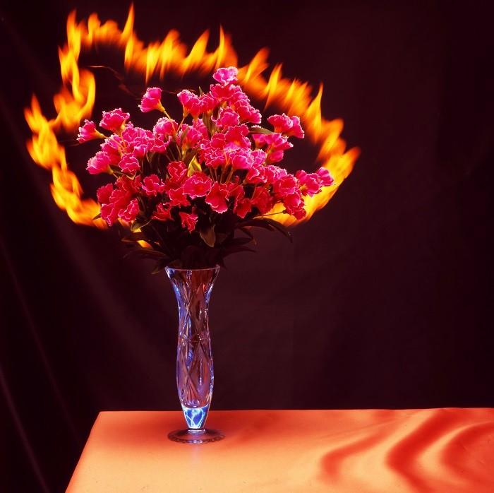 ramo de flores con fuego encima de la mesa