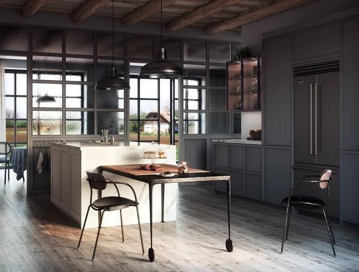 cocina Rekker con isla y mesa con sillas
