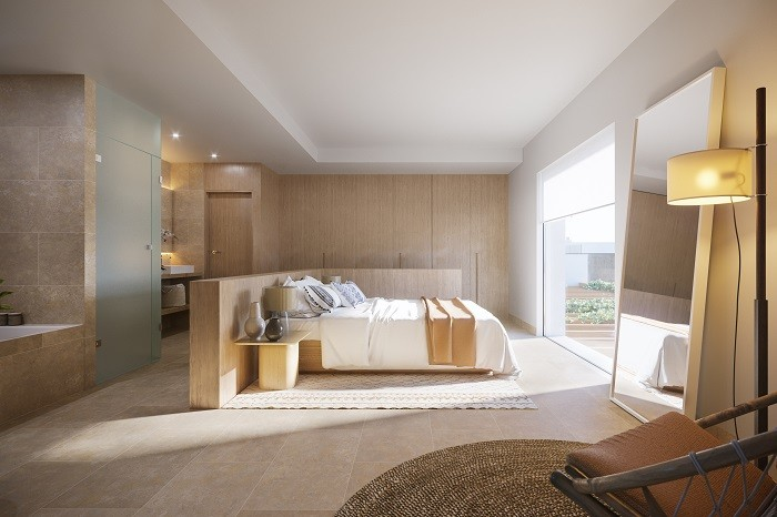 dormitorio de una vivienda de lujo de the white angel en Ibiza