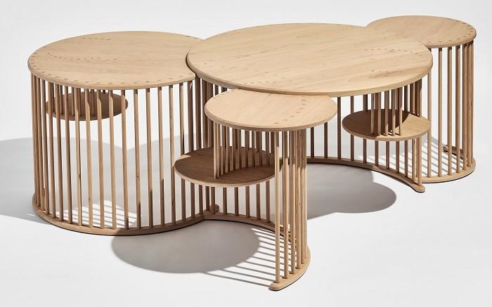 diseño de varias mesas circulares en una en madera