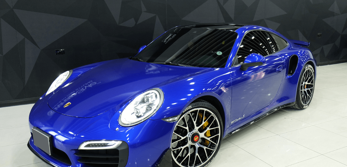 porsche 911 metallic blue wrap