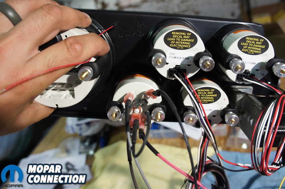 medium resolution of top as we wired in each gauge we looped the extra wire and zip tied it together bottom left the back of the speedometer was labeled and we just had to