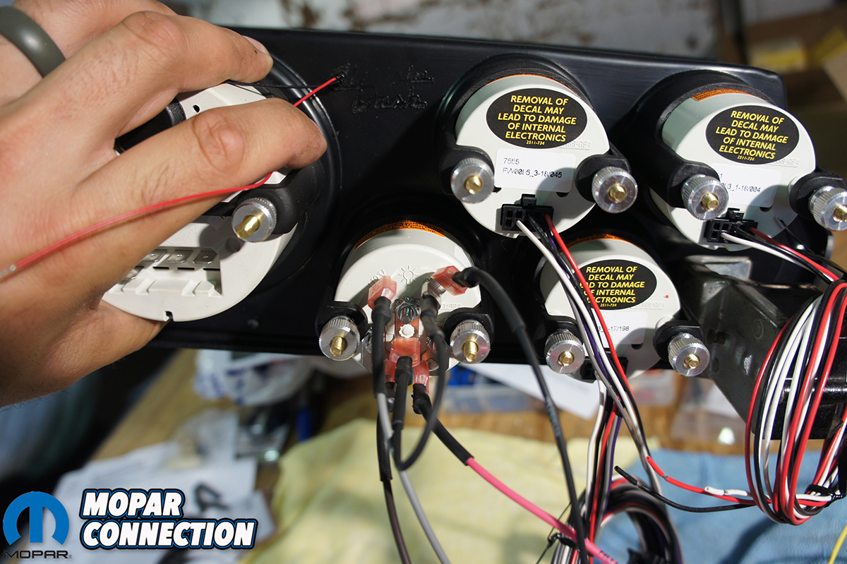 hight resolution of top as we wired in each gauge we looped the extra wire and zip tied it together bottom left the back of the speedometer was labeled and we just had to