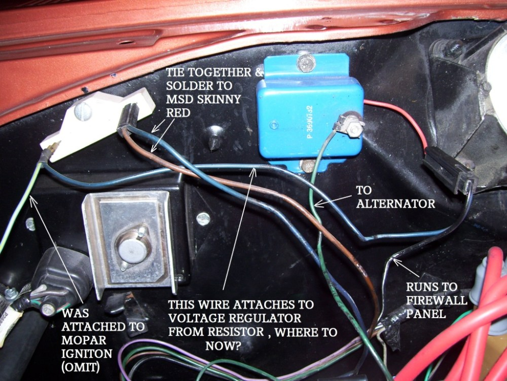 medium resolution of msd ignition and voltage regulator mopar forums challenger w tach wire as well chrysler electronic ignition wiring