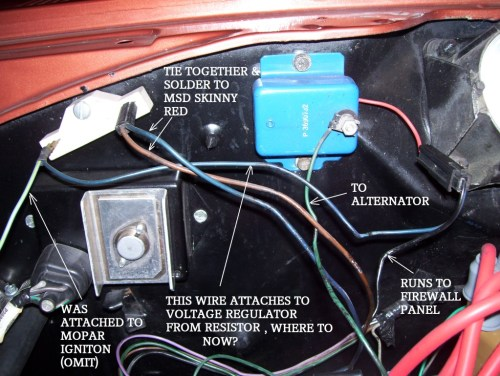 small resolution of msd ignition and voltage regulator mopar forums challenger w tach wire as well chrysler electronic ignition wiring