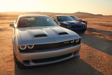 2019 Dodge Challenger SRT HELLCAT Redeye Widebody, SRT HELLCAT Widebody, R/T Scat Pack Widebody (from left to right) (FCA US Photo)