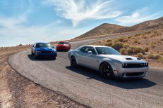 2019 Dodge Challenger Lineup: SRT HELLCAT Redeye Widebody, SRT HELLCAT Widebody, R/T Scat Pack Widebody (from front to back) (FCA US Photo)