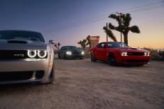 2019 Dodge Challenger SRT HELLCAT Redeye Widebody, Charger SRT HELLCAT, Challenger R/T Scat Pack Widebody (from left to right) (FCA US Photo)