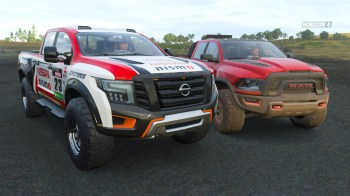 Ram 1500 Rebel TRX Concept and Nissan Titan Warrior Concept in Forza Horizon 4 - Fortune Island. (MoparInsiders).