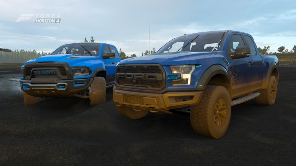 Ram 1500 Rebel TRX Concept and Ford F-150 Raptor in Forza Horizon 4 - Fortune Island. (MoparInsiders).