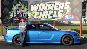 Mike Volkmann in the Winner Circle with his 2016 Dodge Charger SRT392. (MoparInsiders).