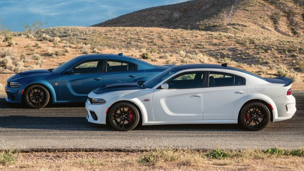 2020 Dodge Charger Scat Pack Widebody (Front) and 2020 Dodge Charger SRT HELLCAT Widebody (Rear). (Dodge).