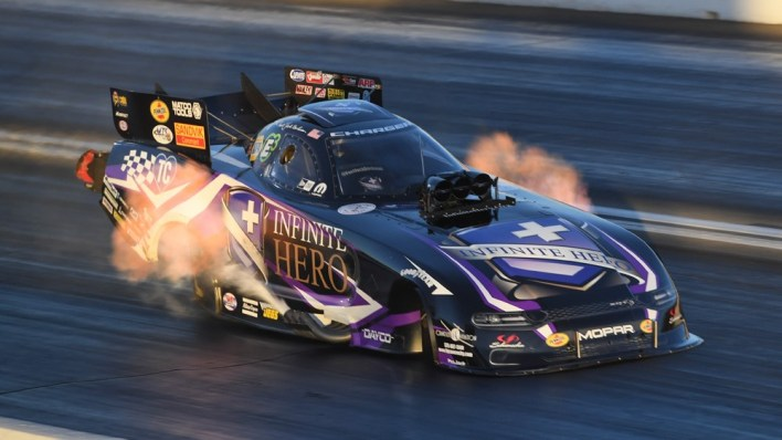 """Fast Jack"" Beckman piloting his Infinite Hero Foundation Dodge Charger SRT HELLCAT Funny Car. (Mopar)."
