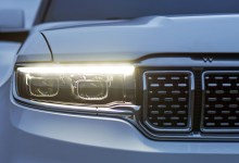 2022 Jeep® Grand Wagoneer front styling teaser. (MoparInsiders).