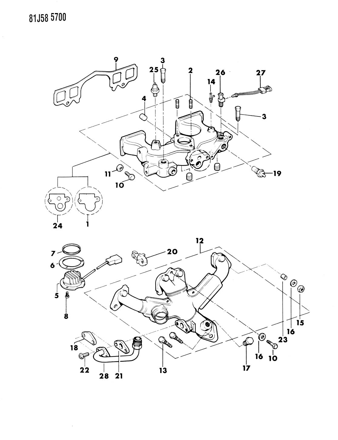 MANIFOLD, INTAKE AND EXHAUST, CARBURATED 1984-86 FOUR
