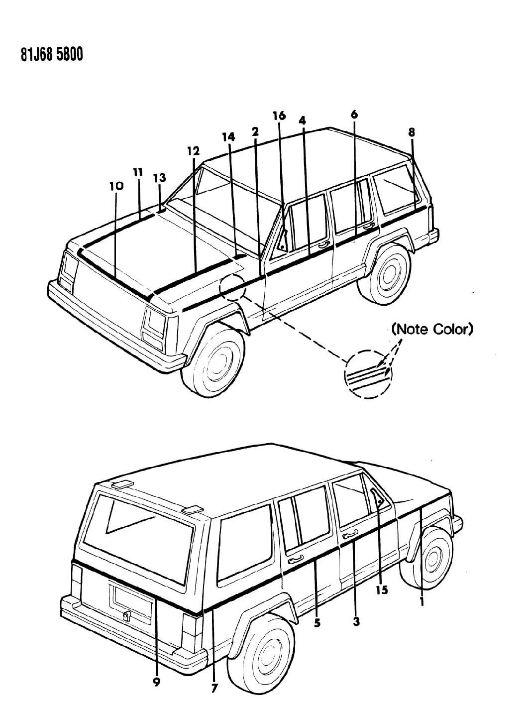 Jeep Cherokee DECALS, EXTERIOR PINSTRIPE XJ WAGONEER