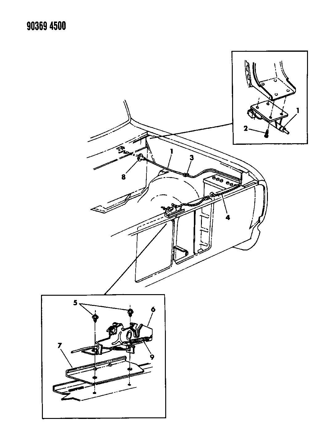 1991 Dodge Pick-Up/Sport Utility HOOD LATCH RELEASE