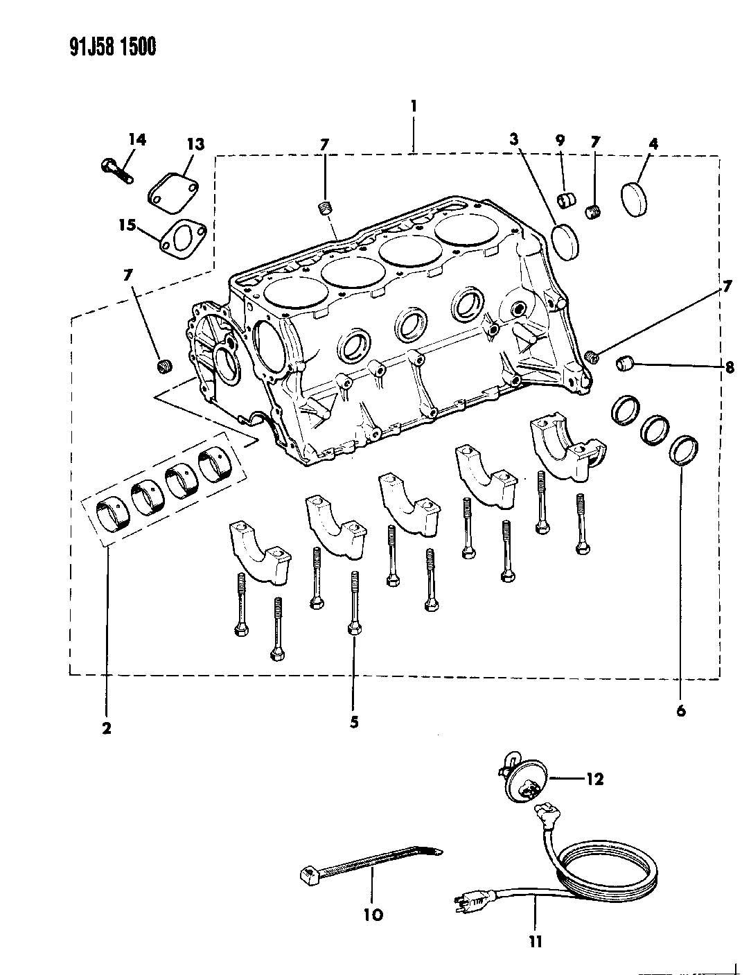 1992 Jeep Wrangler CYLINDER BLOCK 2.5L ENGINE