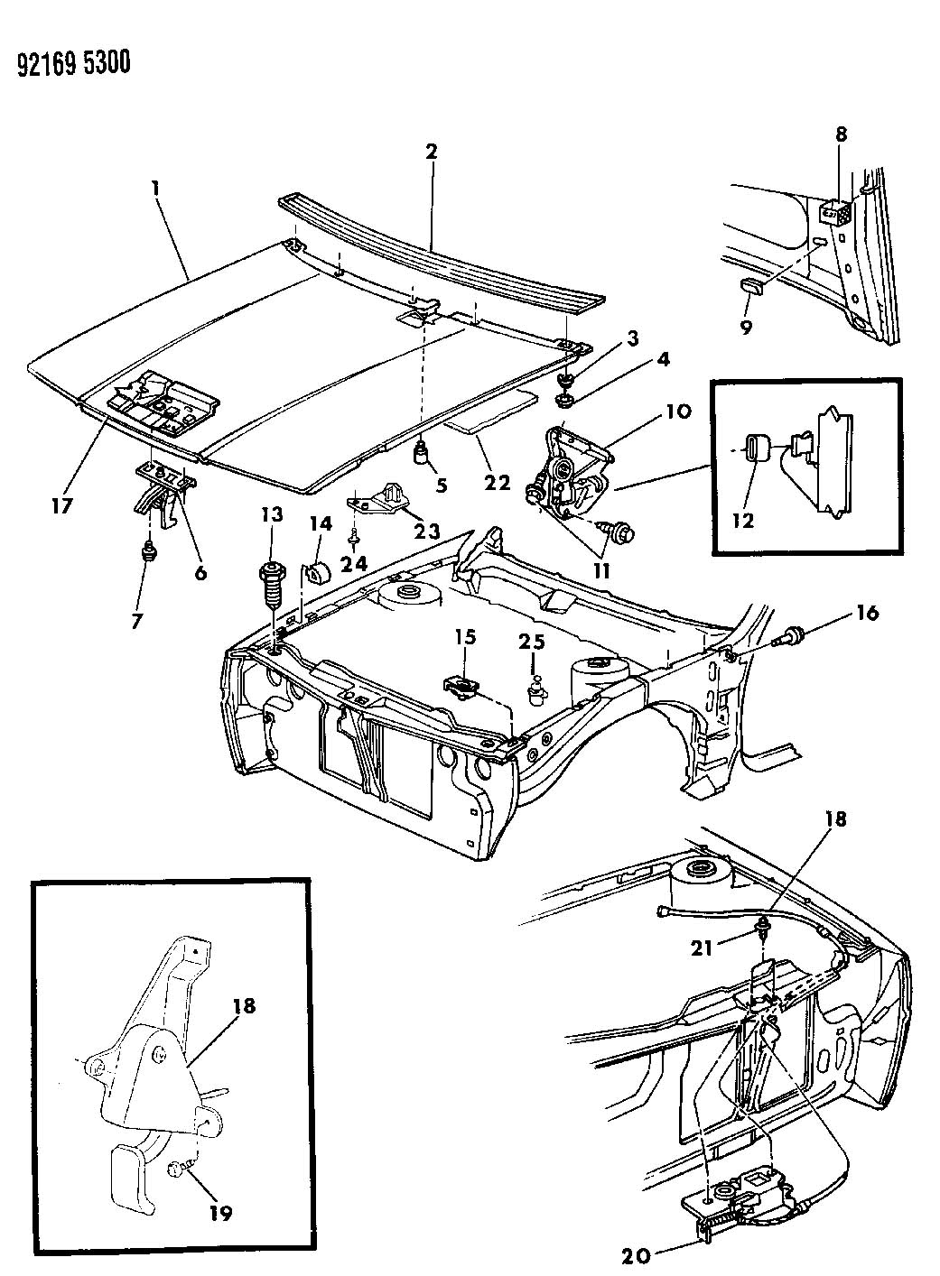 1992 Chrysler Lebaron HOOD AND HOOD RELEASE J BODY 21,27
