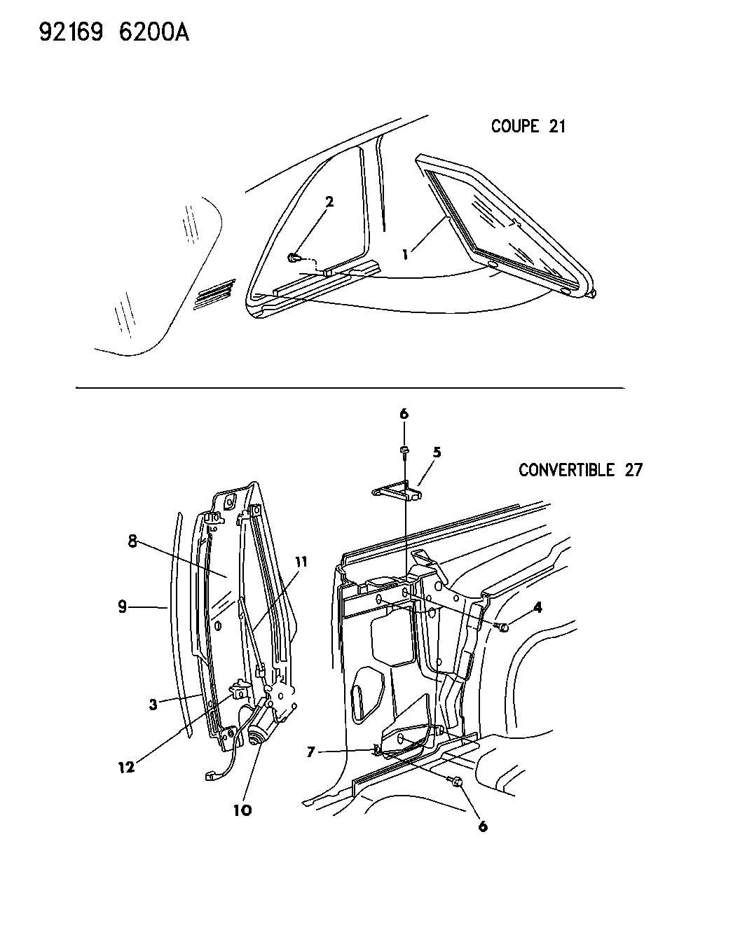 Chrysler Lebaron Glass Quarter Window J Body 21 27