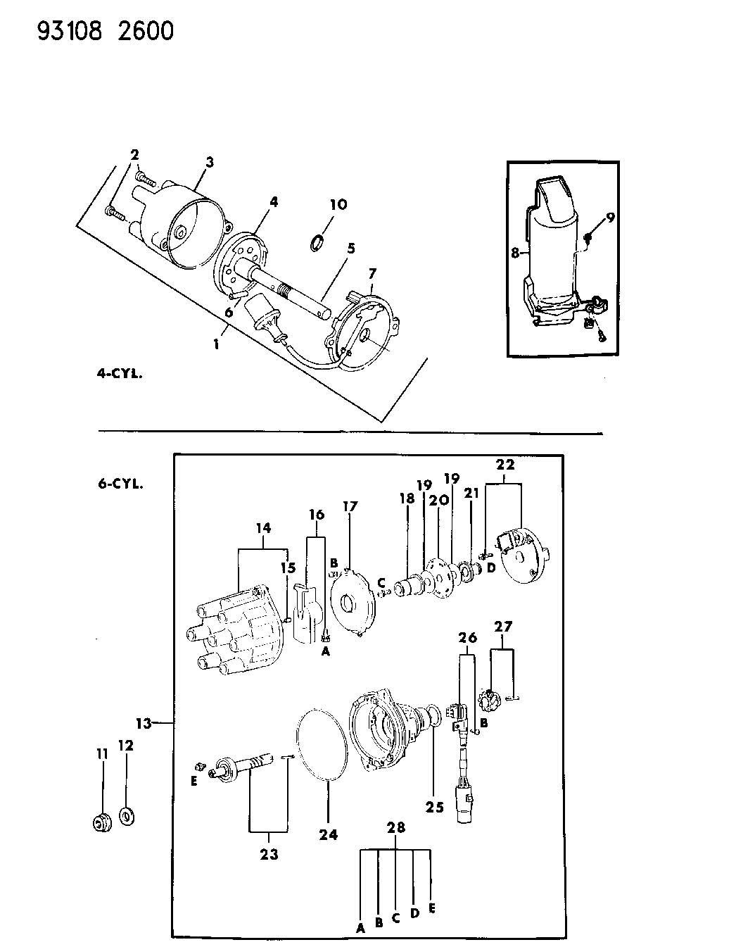 Distributor 4 6 Cylinder Engine