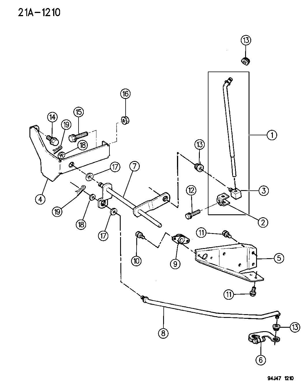 1994 Jeep Wrangler CONTROLS, SHIFT, LOWER, COLUMN