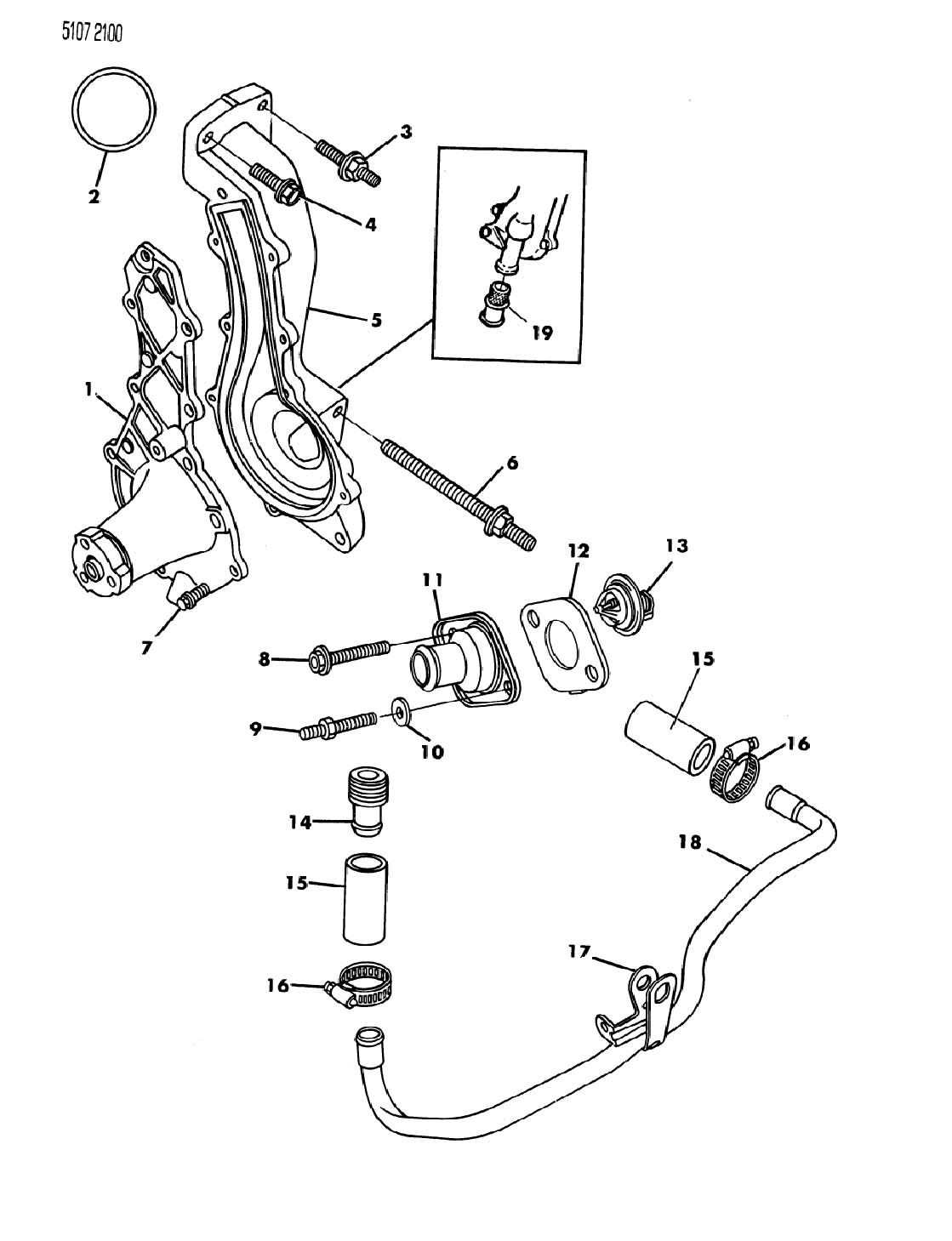 1985 Chrysler Lebaron WATER PUMP AND RELATED PARTS 2.2L ENGINE