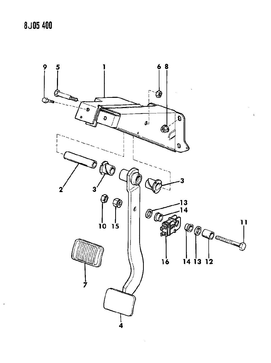 1989 Jeep Cherokee PEDAL, BRAKE CHEROKEE, WAGONEER, COMANCHE