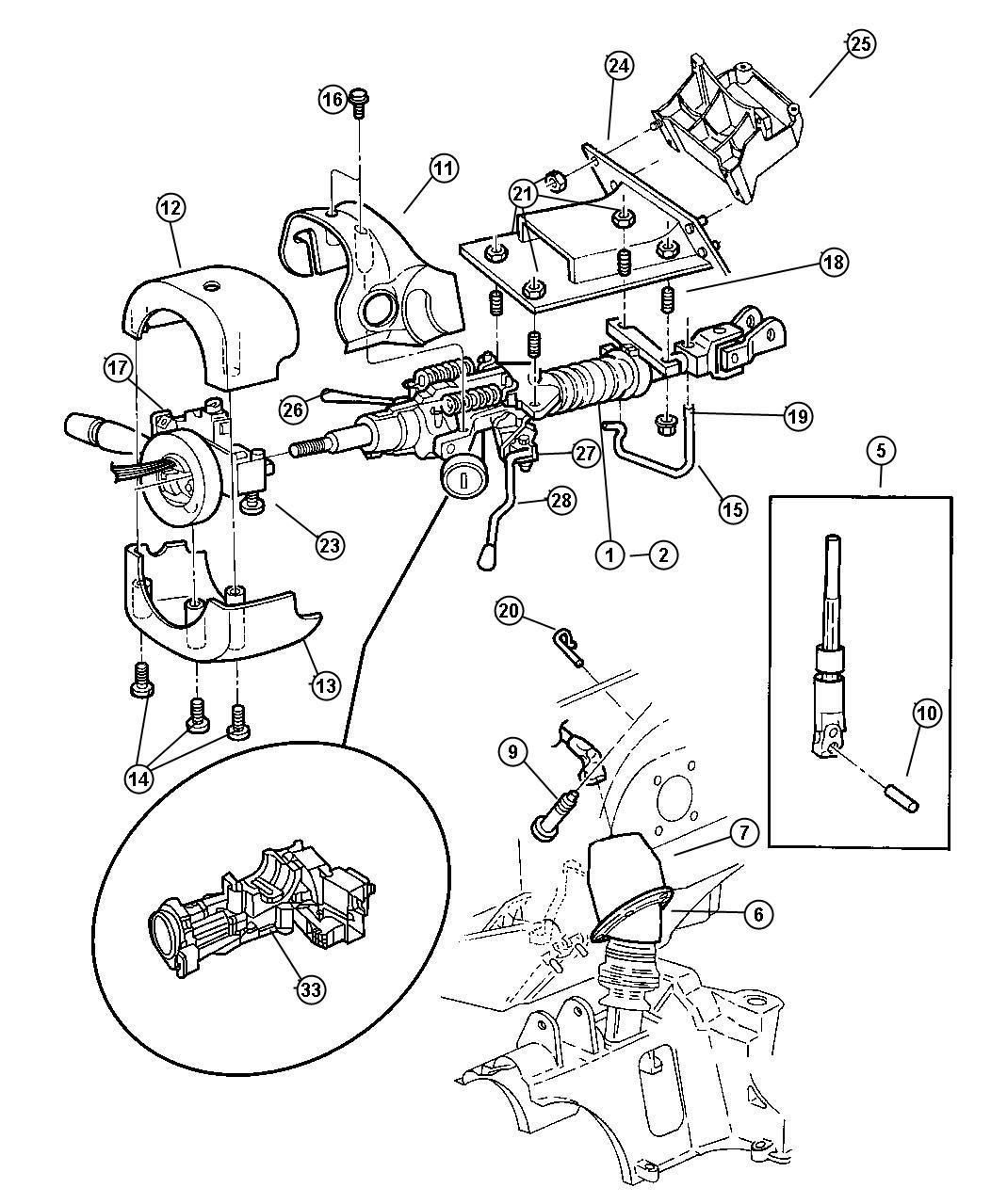 Chrysler Grand Voyager Column Steering Upper And Lower