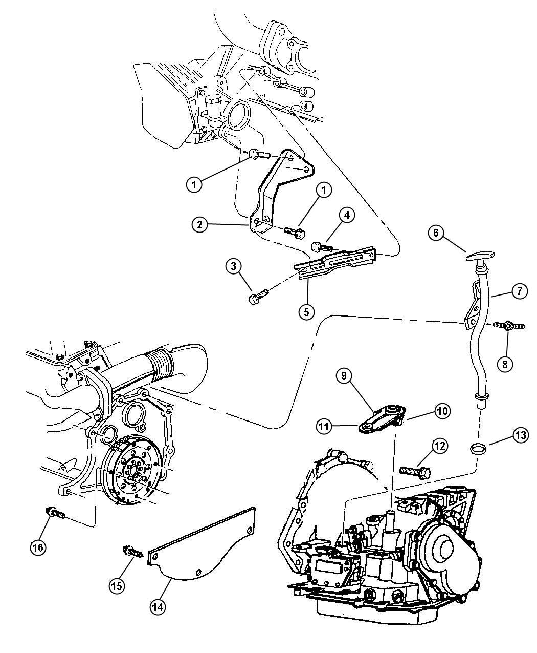 1999 Plymouth Grand Voyager Transaxle Mounting and Misc. Parts