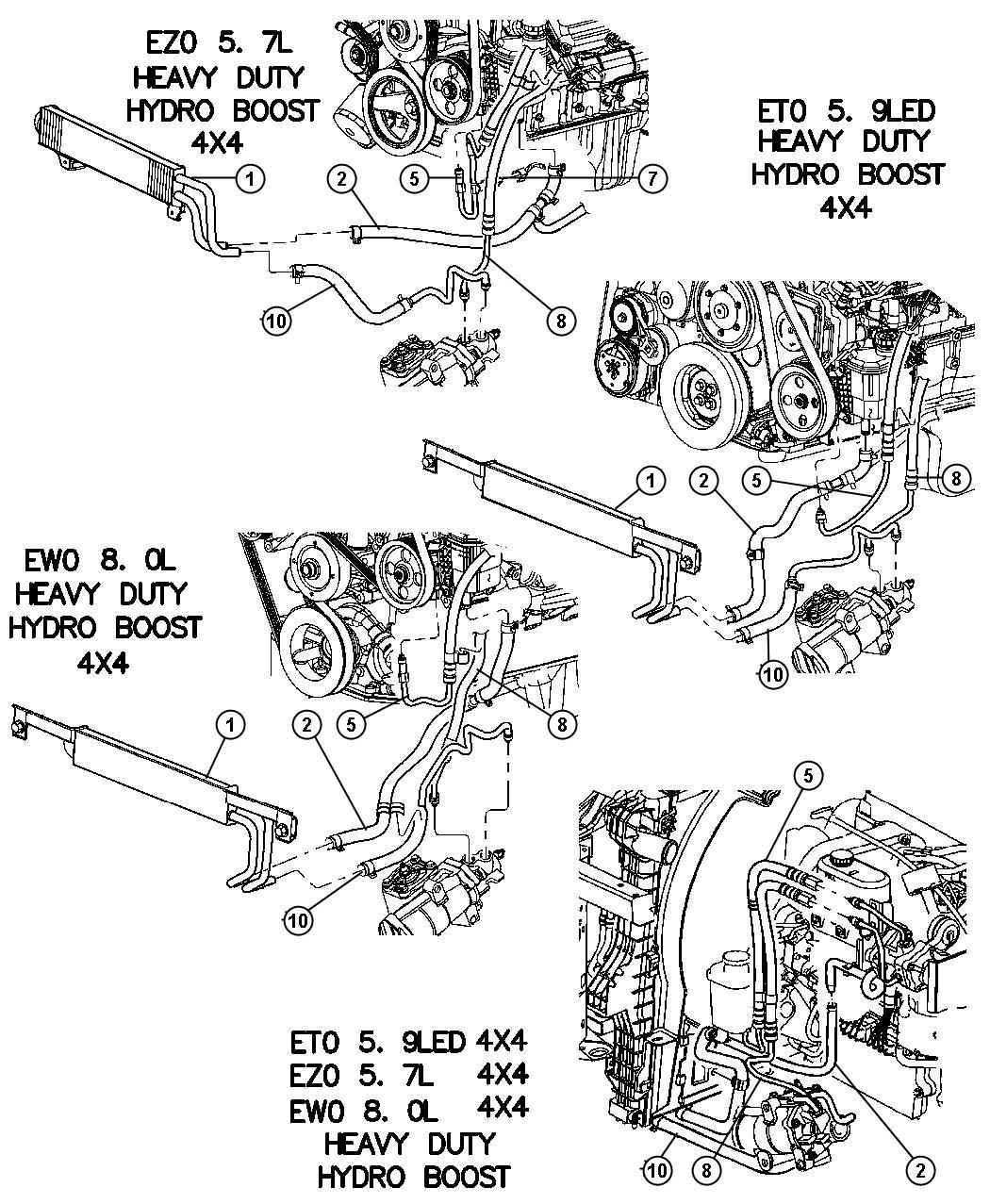 Dodge Ram Hoses Power Steering 4 Wheel Drive