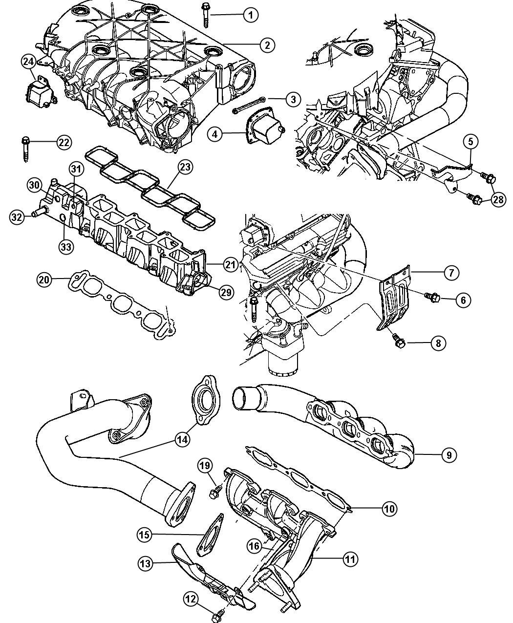 2004 Chrysler Pacifica Manifold, Intake and Exhaust 3.5L