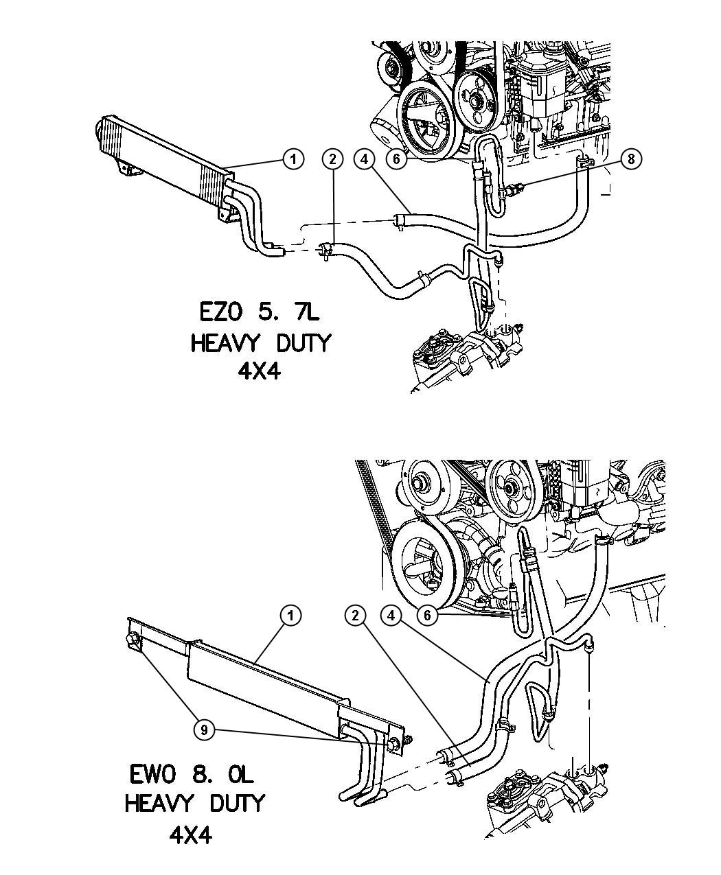 Hoses Power Steering 4 Wheel Drive Without Hydrobooster
