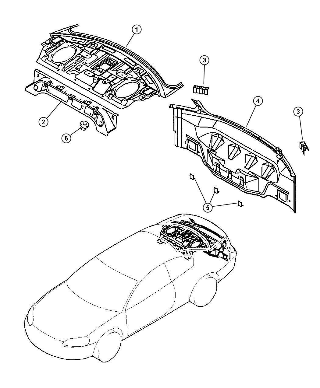 2004 Chrysler Sebring Rear Shelf