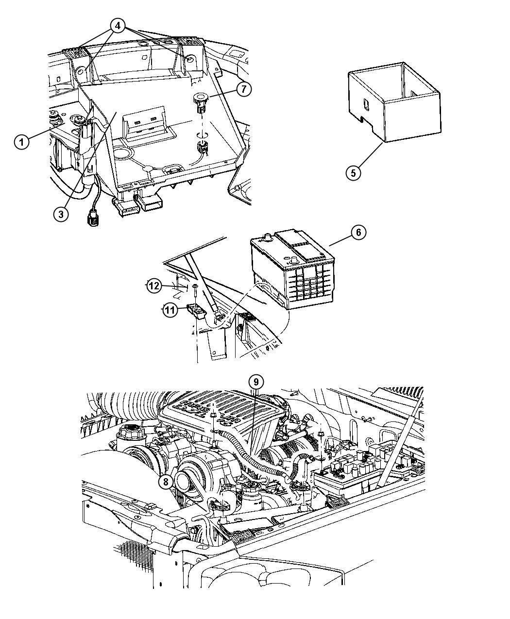 2005 Dodge Dakota Battery Tray & Cables