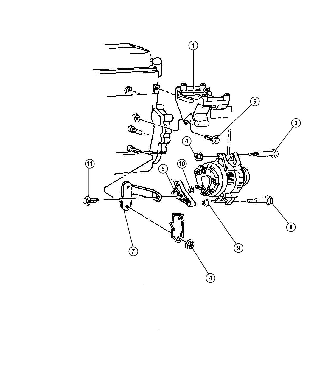1998 Dodge Dakota Alternator Mounting 4 Cylinder Engine