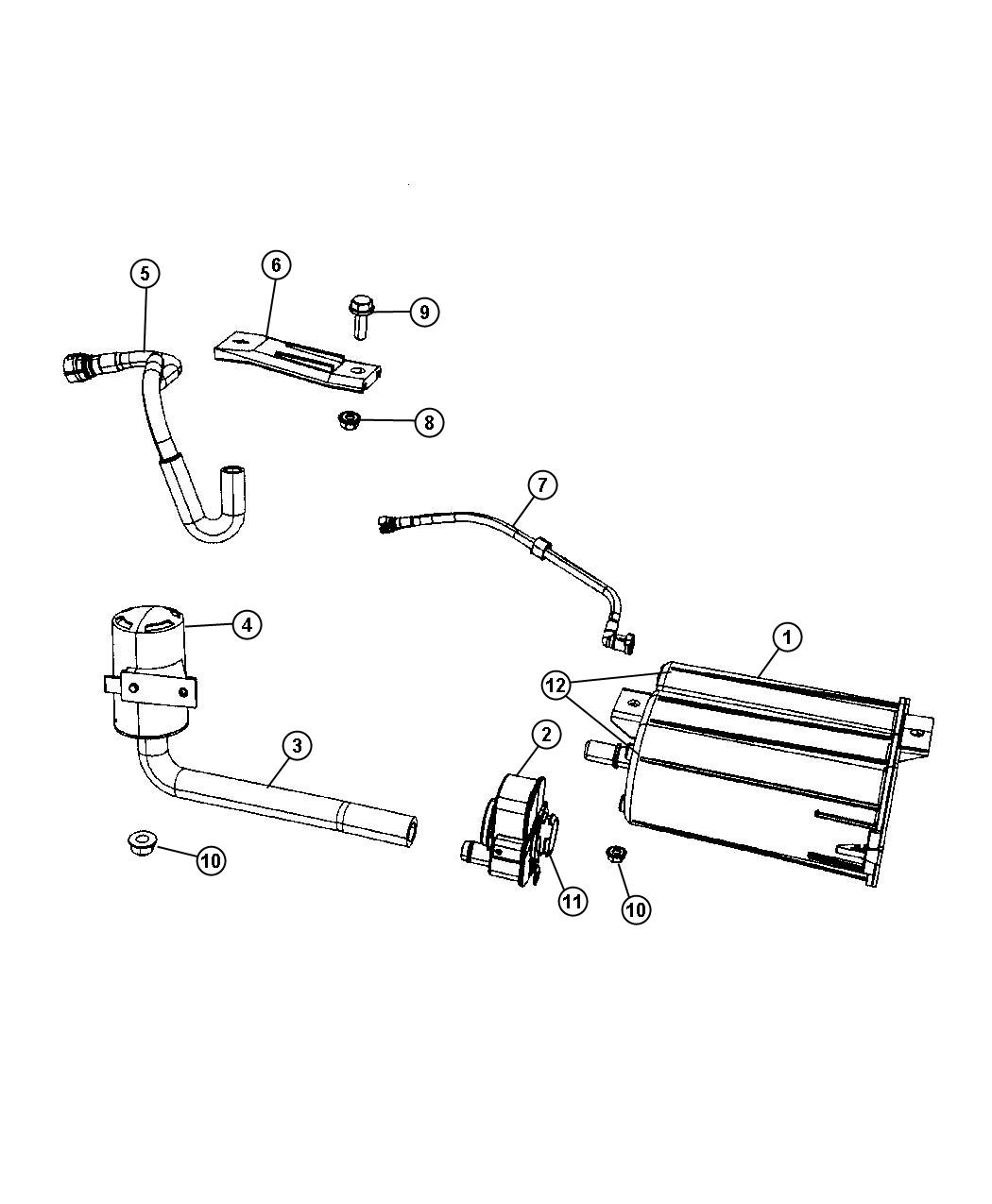 2007 Jeep Compass Vapor Canister and Leak Detection Pump