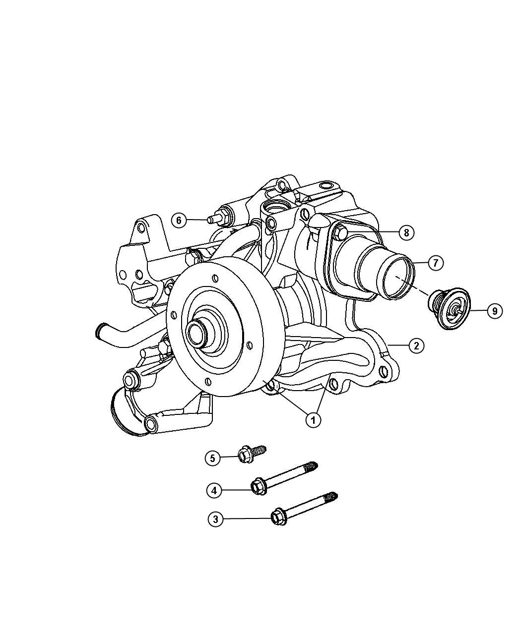 Dodge Ram Water Pump 5 7l Eza Engine