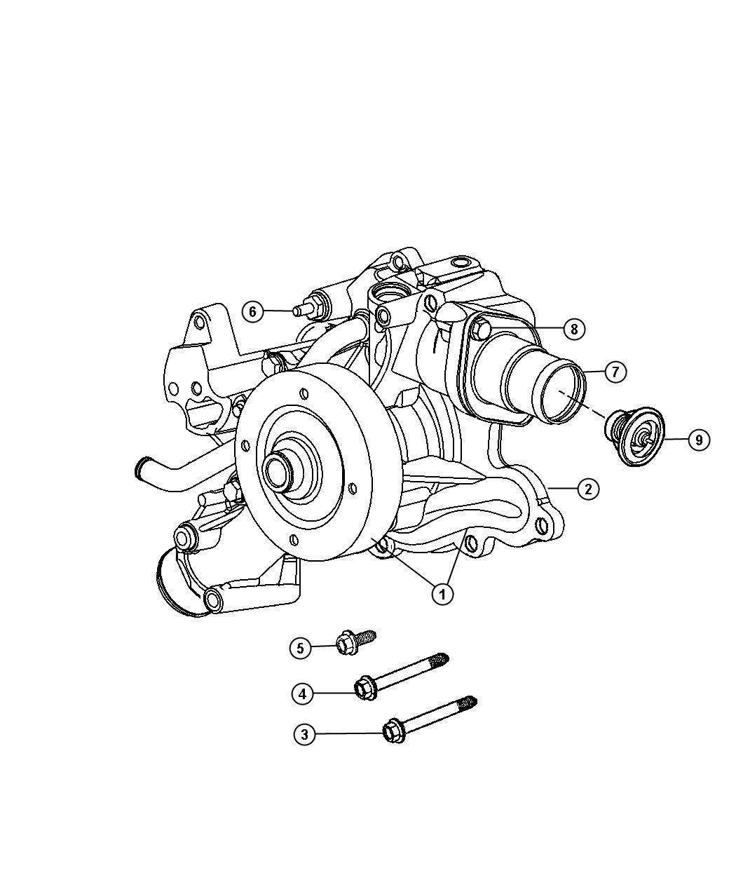 Dodge Ram Water Pump 5 7l Eza Engine