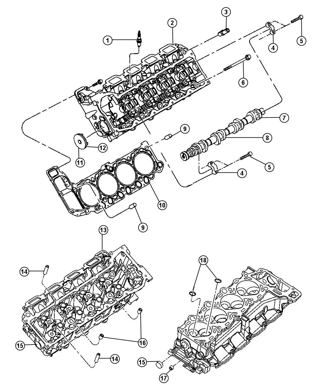 2007 Jeep Commander Cylinder Head And Mounting 4.7L [EVA