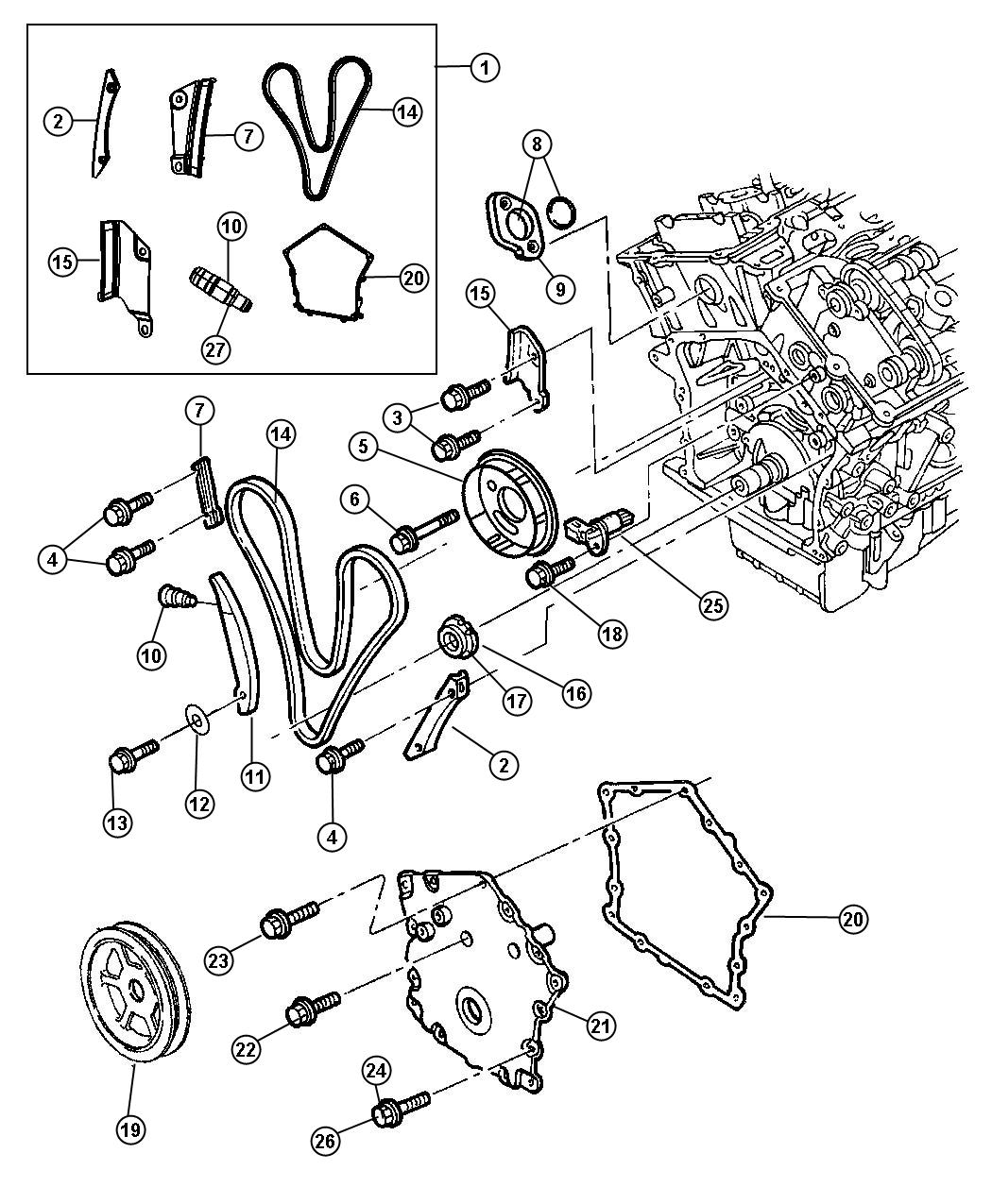 2007 Chrysler Sebring Timing Chain Package, Timing Covers