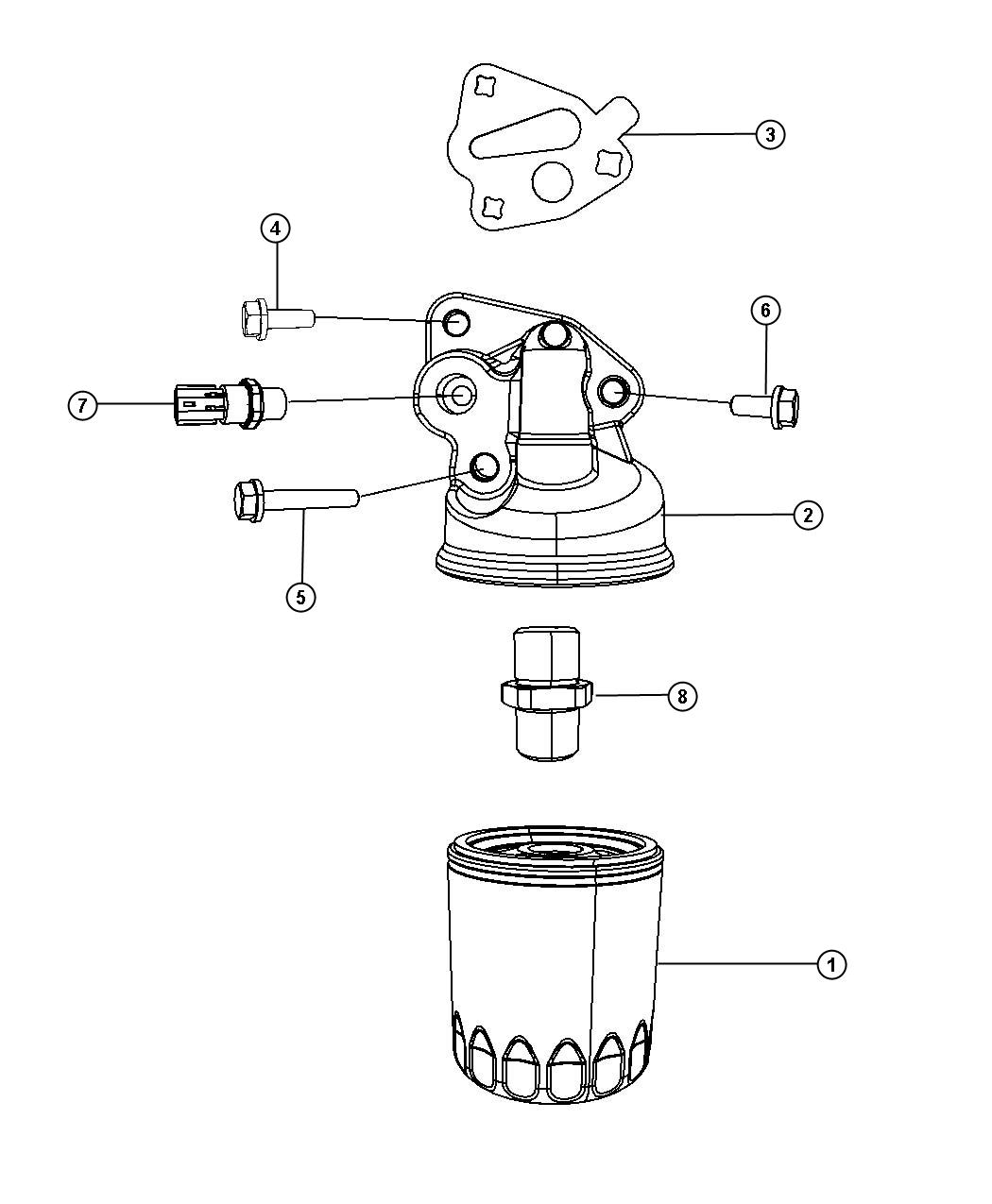 Chrysler Pacifica Engine Oil Filter, Adapter And Splash Guard