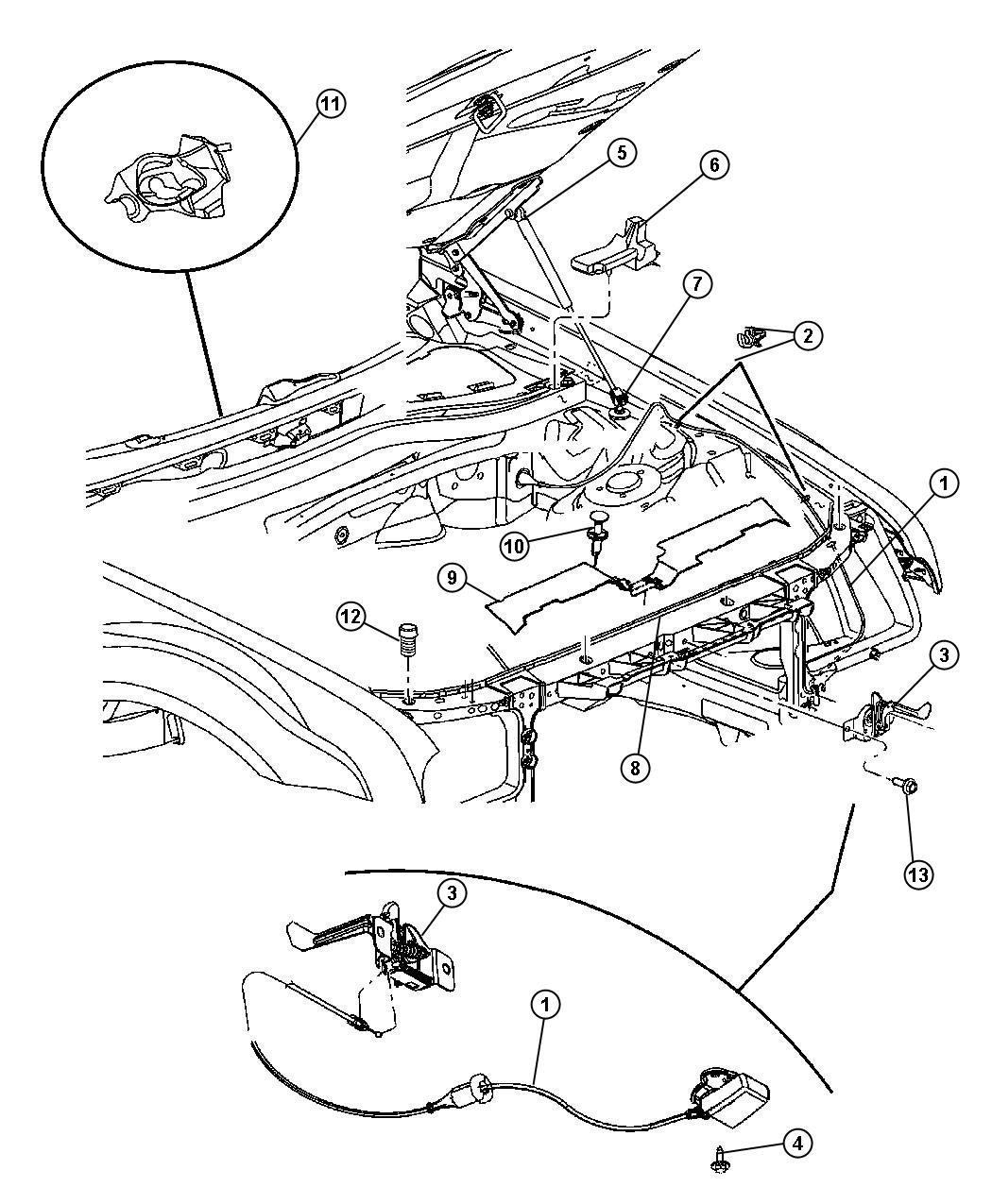 Dodge Magnum Hood Release And Latch