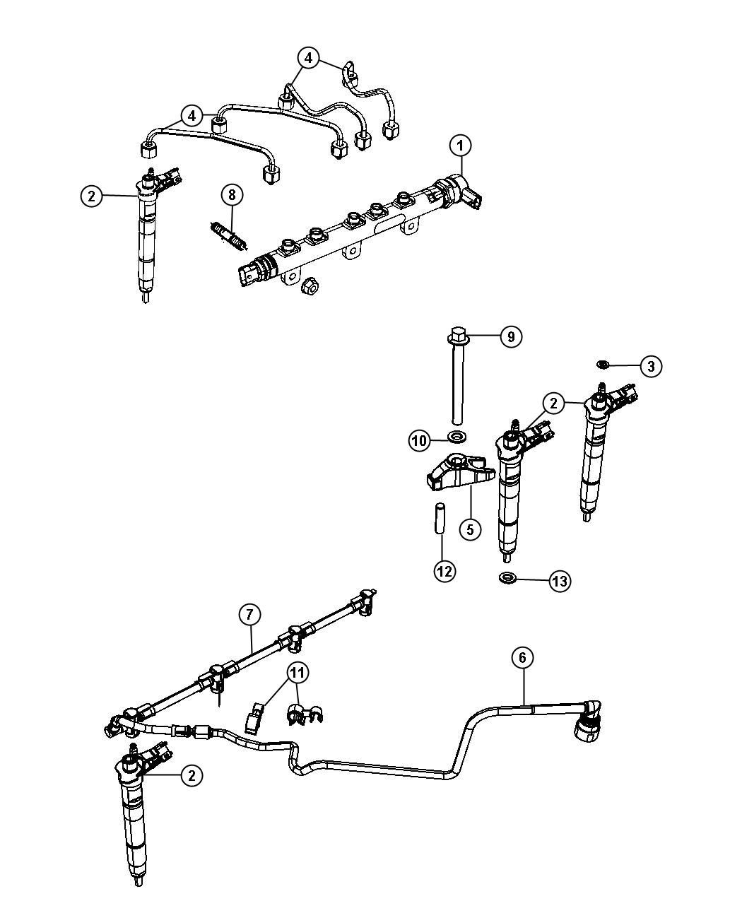 Fuel Rail And Injectorssel Engines